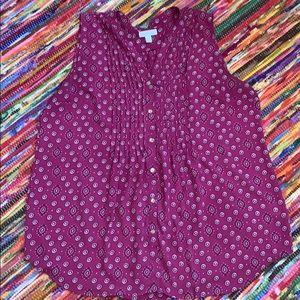 Sleeveless Polyester Berry Color Top